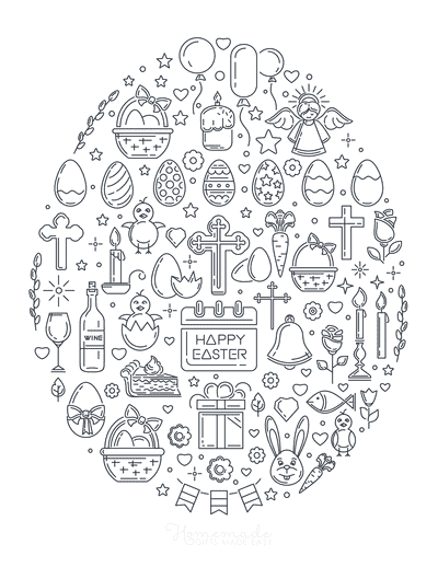 Easter Egg Coloring Pages Easter Icons