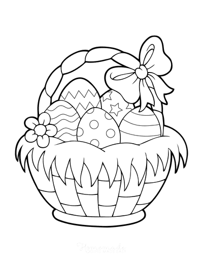 Easter Egg Coloring Pages Egg Basket With Bow