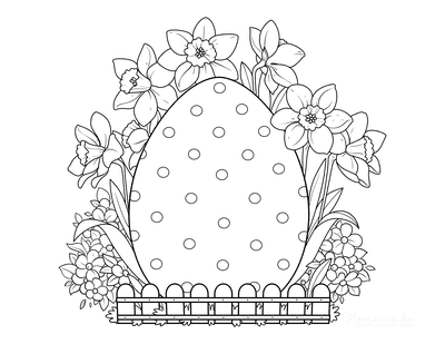 Easter Egg Coloring Pages Egg Garden Spring Flowers