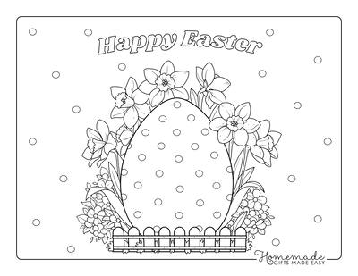 Easter Egg Coloring Pages Egg Garden Spring Flowers