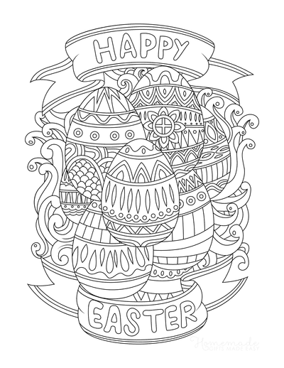 Easter Egg Coloring Pages Happy Easter Patterned