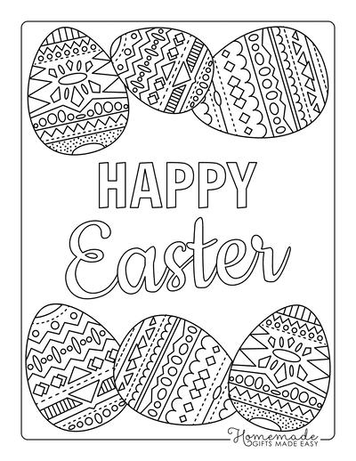 Easter Egg Coloring Pages Happy Easter Patterned Egg Border