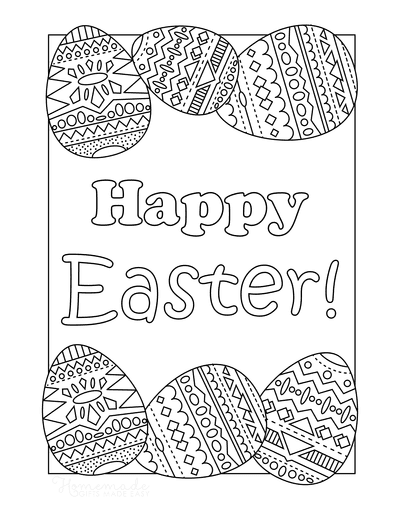Easter Egg Coloring Pages Happy Easter Patterned Egg Border