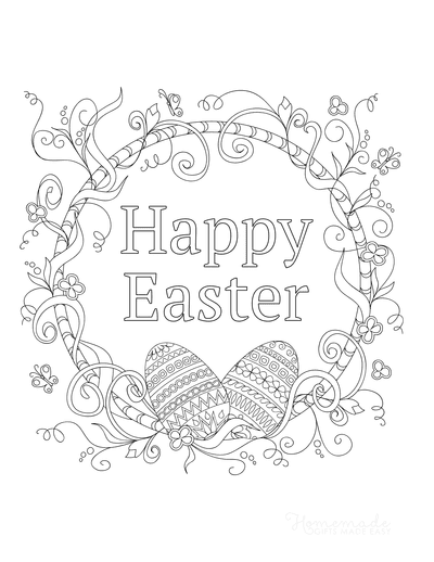 Easter Egg Coloring Pages Happy Easter Wreath Eggs