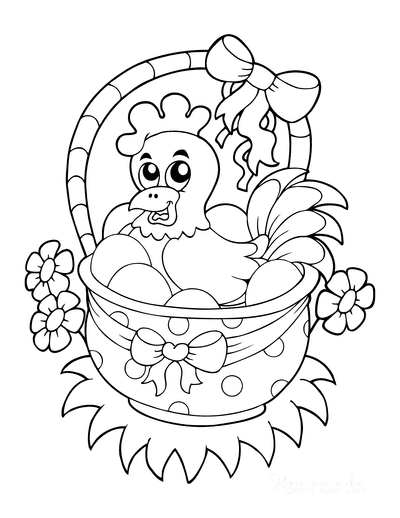 Easter Egg Coloring Pages Hen in Basket Eggs