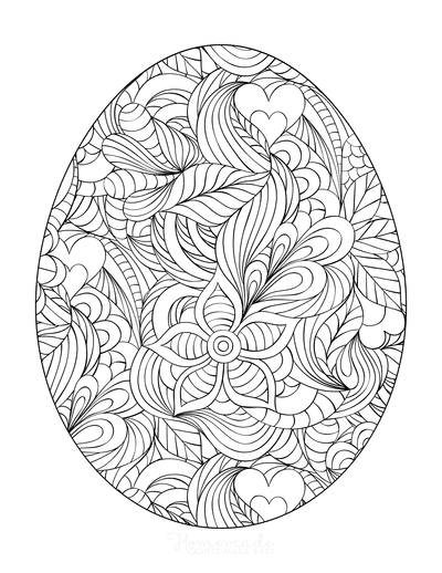 Easter Egg Coloring Pages Intricate Swirly Patterned for Adults