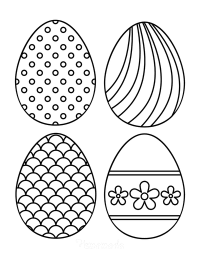 Easter Egg Coloring Pages Patterned 3 Medium 4