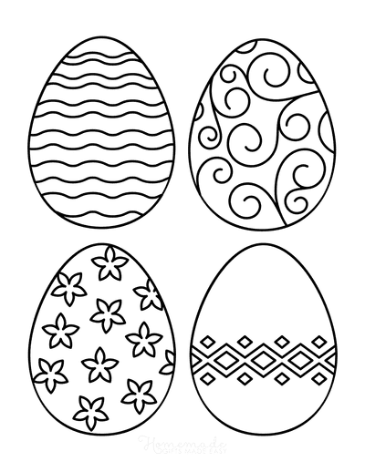 Easter Egg Coloring Pages Patterned 4 Medium 4