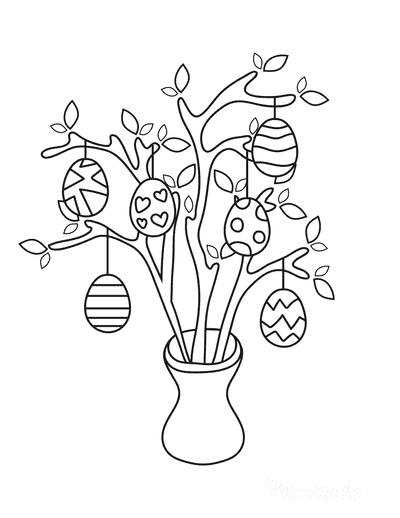 Easter Egg Coloring Pages Patterned Egg Tree
