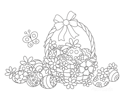Easter Egg Coloring Pages Patterned Eggs in Basket With Butterfly