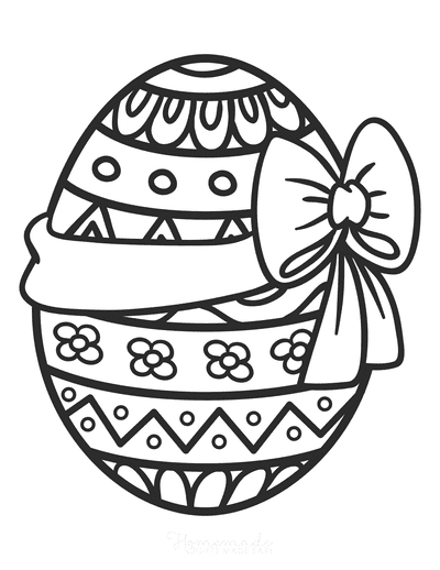 Easter Egg Coloring Pages Patterned Large Egg With Bow