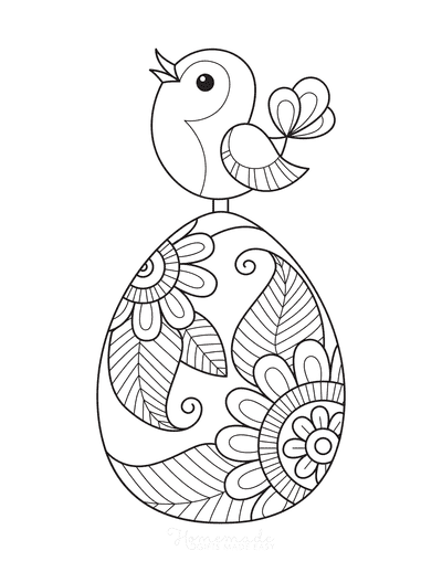 Easter Egg Coloring Pages Spring Bird on Patterned Egg