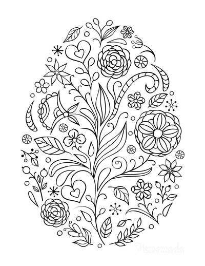 Easter Egg Coloring Pages Spring Flowers Egg