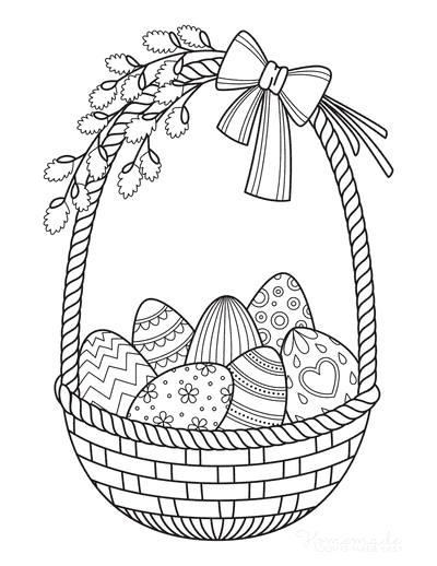 Easter Egg Coloring Pages Wicker Basket Eggs Bow