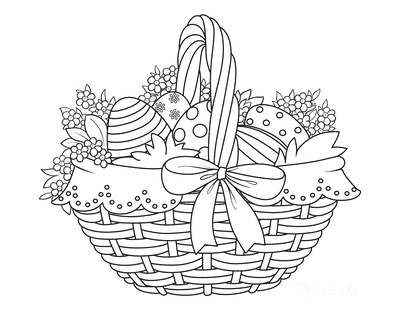 Easter Egg Coloring Pages Wicker Basket Patterned Eggs