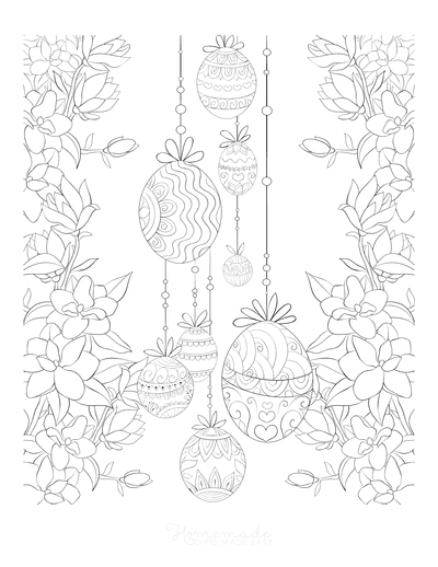 Easter Egg Coloring Spring Border Decorative Eggs for Adults