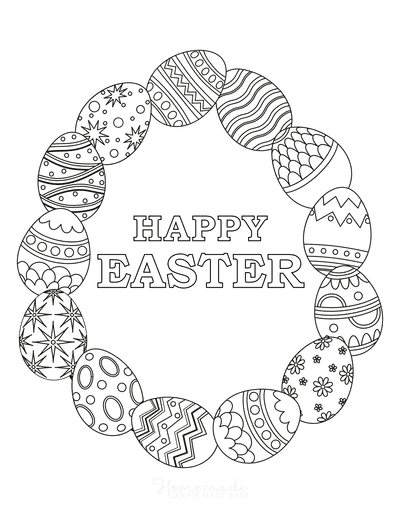 Easter Egg Coloring Wreath of Patterned Eggs