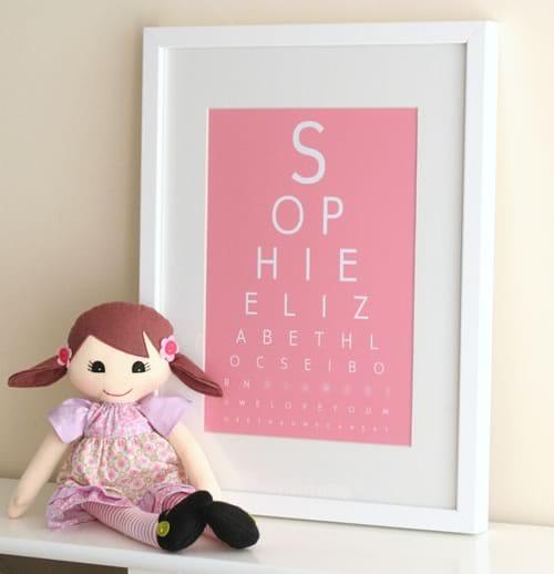 newborn birthday eye chart art