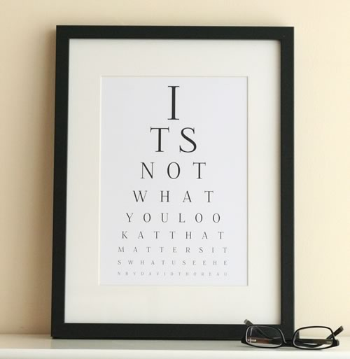 inspirational eye chart art its not what you look at that matters its what you see