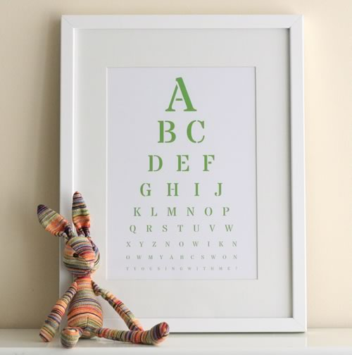 Alphabet nursery eye chart art