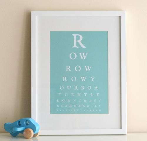 Row row your boat nursery eye chart art