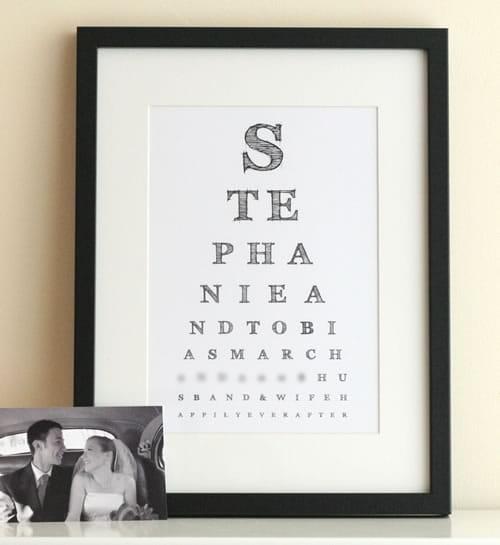 wedding eye chart art