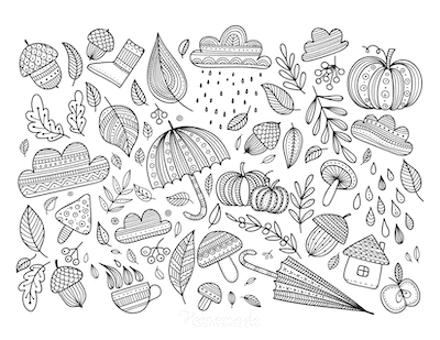 Fall Coloring Pages Acorns Umbrellas Leaves Doodle for Adults