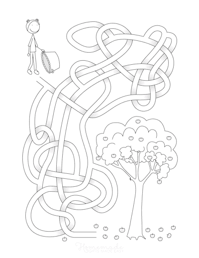 Fall Coloring Pages Apple Maze