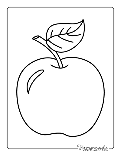Fall Coloring Pages Apple Template Preschoolers Large