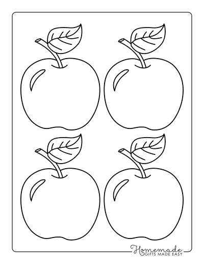 Fall Coloring Pages Apple Template Preschoolers Medium