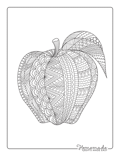 Fall Coloring Pages Apple Zentangle for Adults