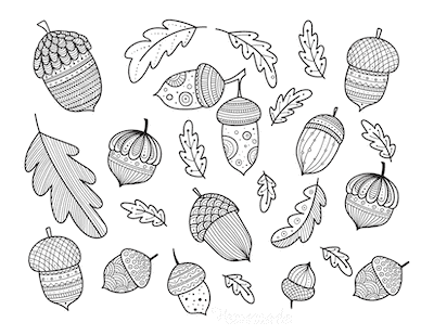 Fall Coloring Pages Autumn Acorn Oak Leaf Doodle for Adults