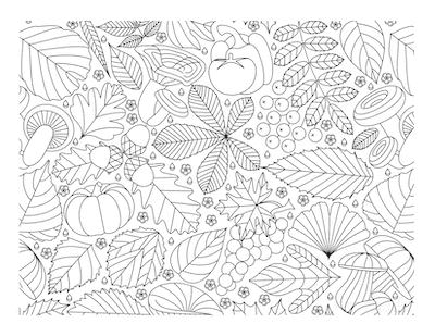 Fall Coloring Pages Autumn Doodle for Adults Leaves Mushrooms Grapes Pumpkin
