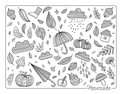 Fall Coloring Pages Autumn Doodle Leaves Umbrellas for Adults