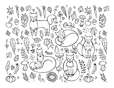 Fall Coloring Pages Autumn Fox Doodle for Adults