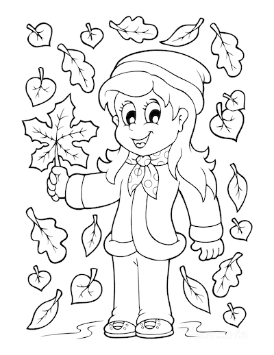 Fall Coloring Pages Autumn Girl in Falling Leaves