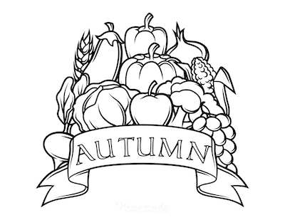 Fall Coloring Pages Autumn Harvest Banner