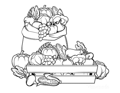 Fall Coloring Pages Autumn Harvest Crate of Food