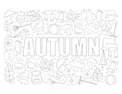 Fall Coloring Pages Autumn Icons Collage