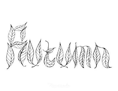Fall Coloring Pages Autumn Leaf Letters Font