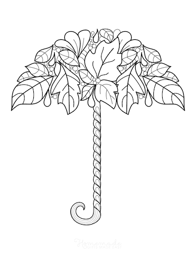 Fall Coloring Pages Autumn Leaf Umbrella for Adults