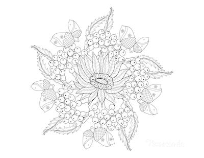 Fall Coloring Pages Autumn Leaves Acorns Flower for Adults
