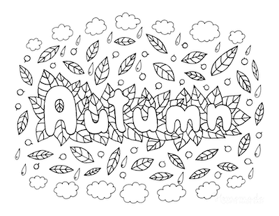 Fall Coloring Pages Autumn Leaves Rain Clouds