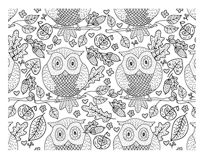 Fall Coloring Pages Autumn Owls Doodle for Adults