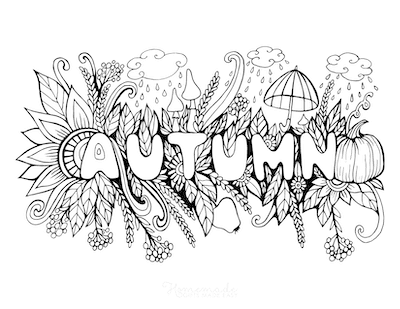 Fall Coloring Pages Autumn Sign Berries Leaves Mushrooms