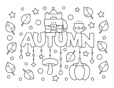 Fall Coloring Pages Autumn Sign Falling Leaves Pumpkin Mushrooms Cosy Drink
