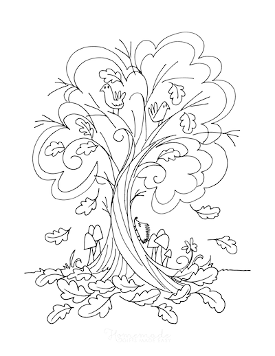 Fall Coloring Pages Autumn Tree Falling Leaves