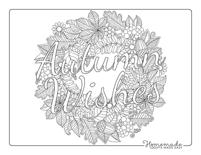 Fall Coloring Pages Autumn Wishes Leaf Mandala