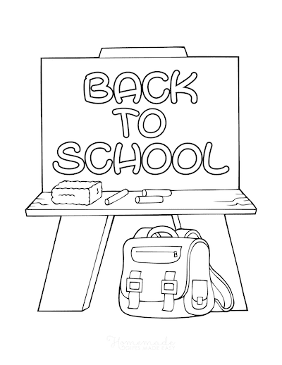 Fall Coloring Pages Back to School Chalkboard Bag