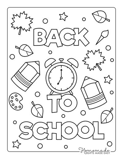 Fall Coloring Pages Back to School Clock Pencils Stars